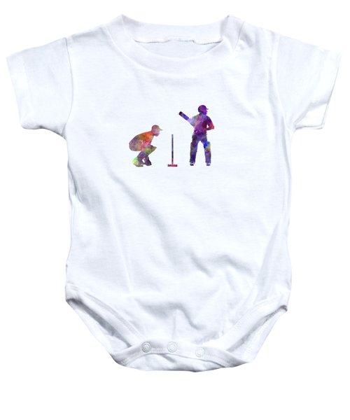 Cricket Player Silhouette Baby Onesie by Pablo Romero