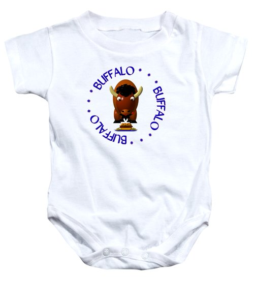 Cute Buffalo With Beef On Weck And Buffalo Wings Baby Onesie by Rose Santuci-Sofranko