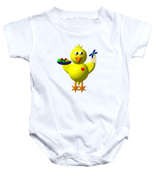 Cute Canary With Salad And Milk Baby Onesie by Rose Santuci-Sofranko