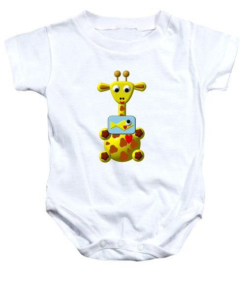Cute Giraffe With Goldfish Baby Onesie by Rose Santuci-Sofranko