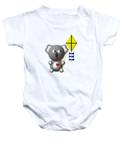 Cute Koala With Kite Baby Onesie by Rose Santuci-Sofranko