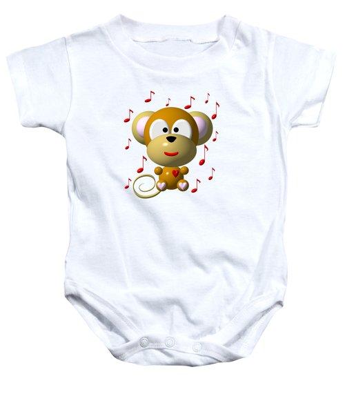 Cute Musical Monkey Baby Onesie by Rose Santuci-Sofranko
