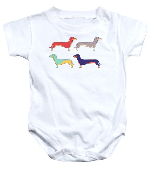 Dachshunds Baby Onesie by Kelly Jade King