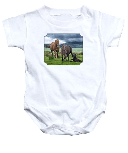 Dartmoor Ponies Baby Onesie by Gill Billington
