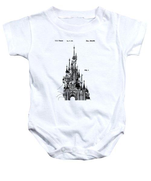 Disneyland Castle Patent Art Baby Onesie by Safran Fine Art
