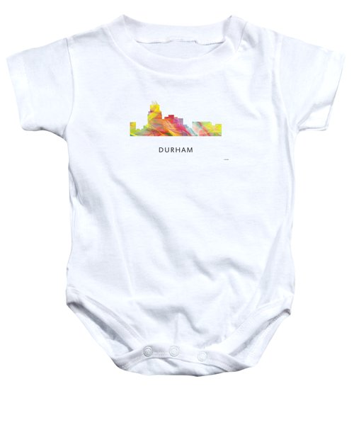 Durham North Carolina Skyline Baby Onesie by Marlene Watson