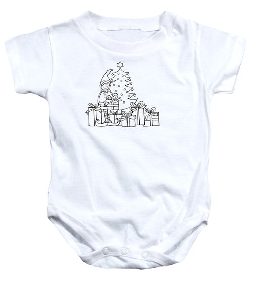 Elf And Presents  Baby Onesie by Mantra Y