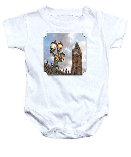Evening Light At Big Ben Baby Onesie by Gill Billington