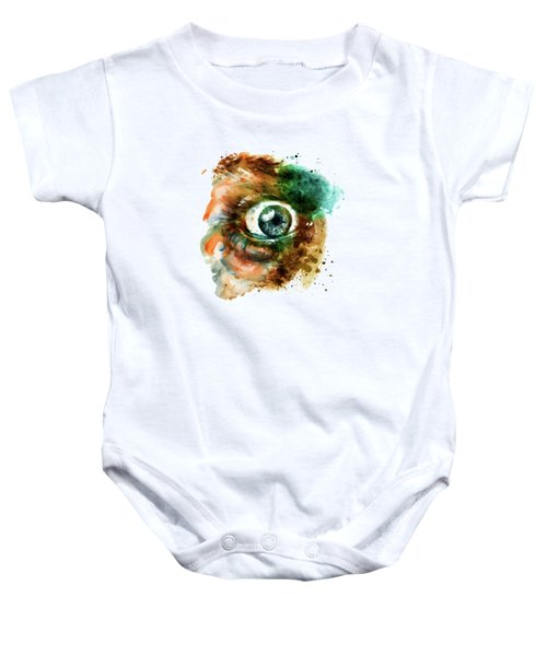 Fear Eye Watercolor Baby Onesie by Marian Voicu