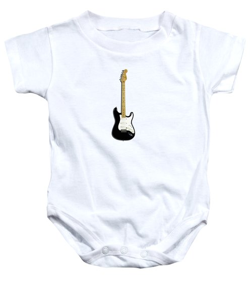 Fender Stratocaster Blackie 77 Baby Onesie by Mark Rogan