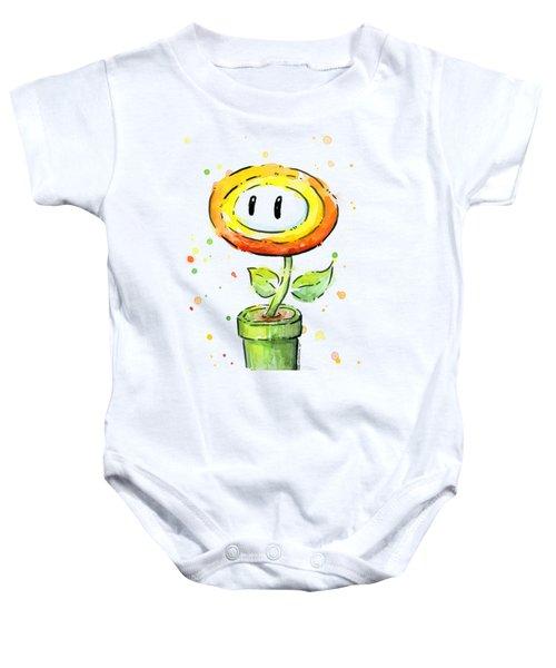Fireflower Watercolor Baby Onesie by Olga Shvartsur
