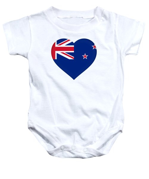 Flag Of New Zealand Heart Baby Onesie by Roy Pedersen