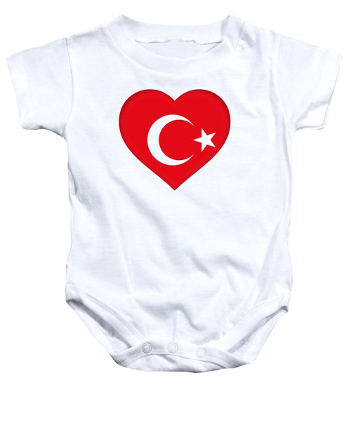Flag Of Turkey Heart Baby Onesie by Roy Pedersen