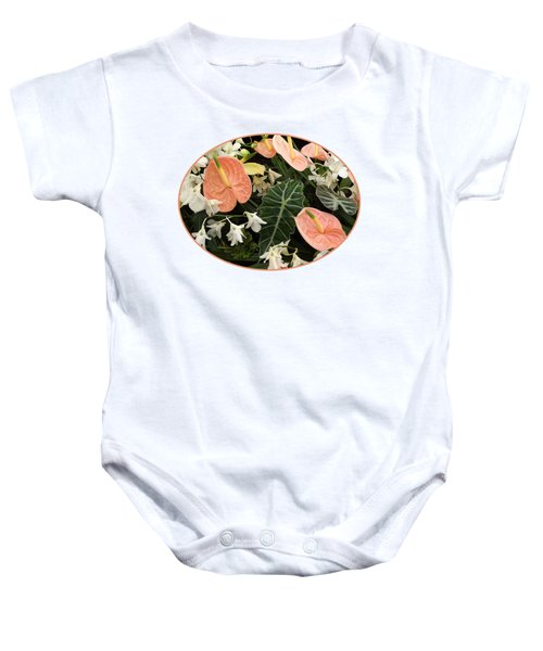 Flamingo Flowers And Orchids Baby Onesie by Gill Billington