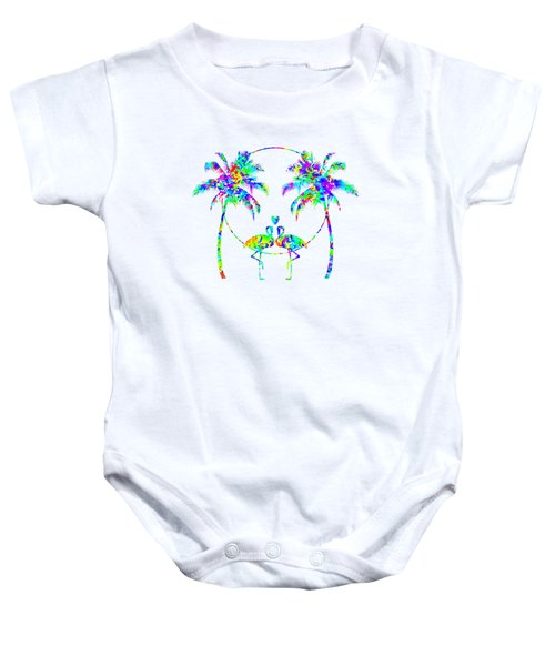 Flamingos In Love - Splatter Art Baby Onesie by SharaLee Art