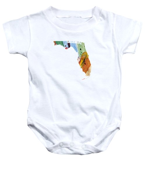 Florida Map Art - Painted Map Of Florida Baby Onesie by World Art Prints And Designs