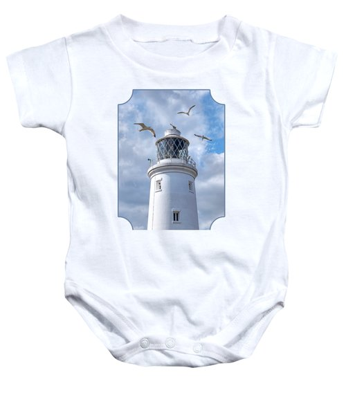 Fly Past - Seagulls Round Southwold Lighthouse Baby Onesie by Gill Billington