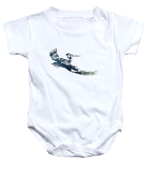 Flying Pelican Baby Onesie by Diana Van