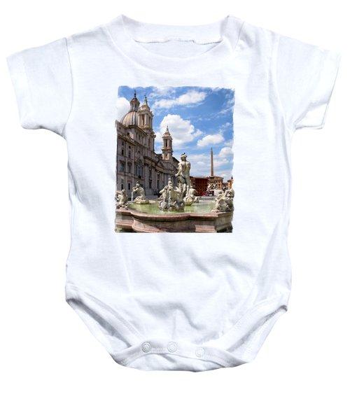 Fontana Del Moro.rome Baby Onesie by Jennie Breeze