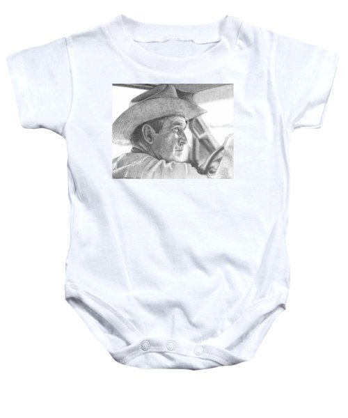 Former Pres. George W. Bush Wearing A Cowboy Hat Baby Onesie by Michelle Flanagan