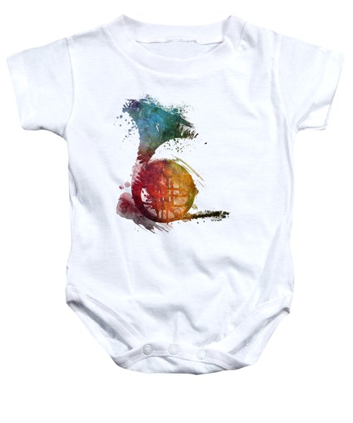 French Horn Colored Musical Instruments Baby Onesie by Justyna JBJart