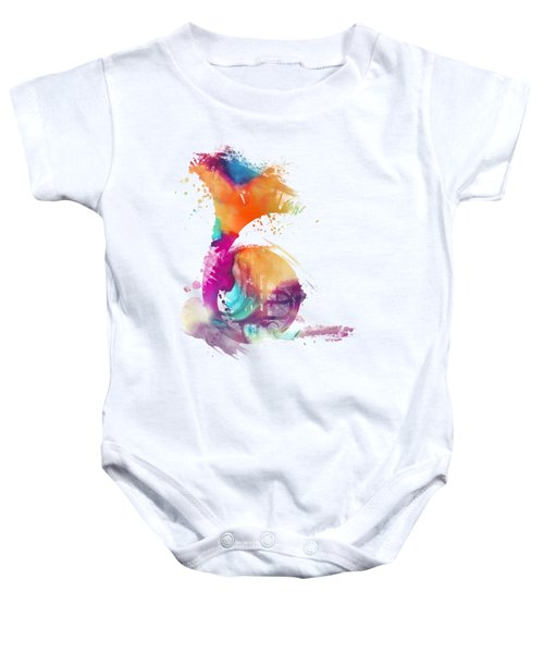 French Horn Watercolor Musical Instruments Baby Onesie by Justyna JBJart