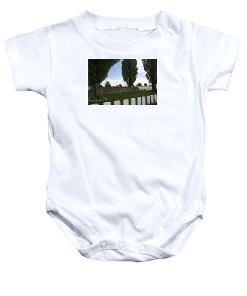Baby Onesie featuring the photograph German Bunker At Tyne Cot Cemetery by Travel Pics