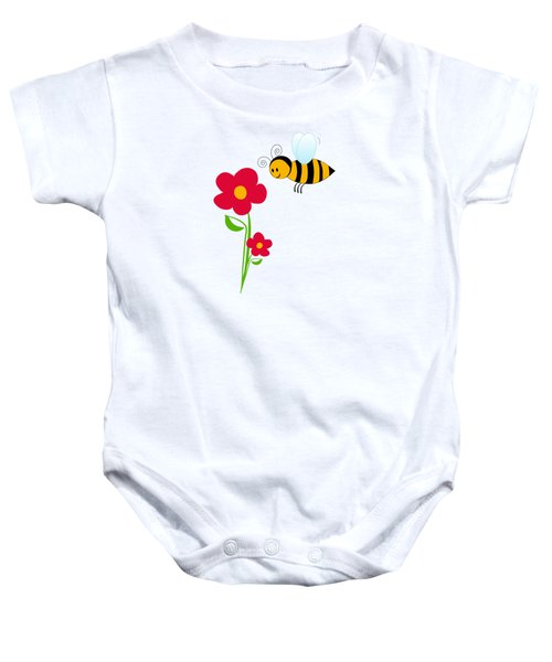Giant Bumble Bee And Red Flowers Baby Onesie by Serena King