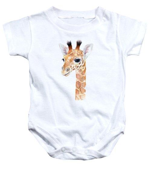 Giraffe Watercolor Baby Onesie by Olga Shvartsur