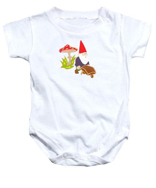 Gnome Garden Baby Onesie by Priscilla Wolfe