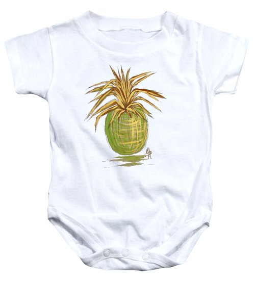 Green Gold Pineapple Painting Illustration Aroon Melane 2015 Collection By Madart Baby Onesie by Megan Duncanson