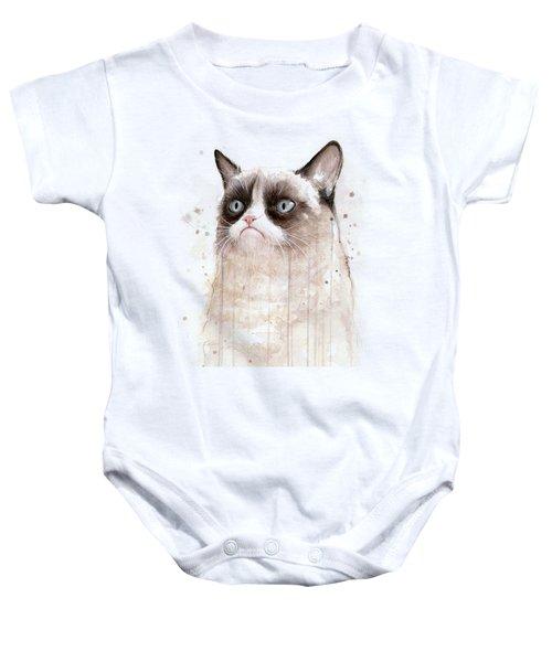 Grumpy Watercolor Cat Baby Onesie by Olga Shvartsur