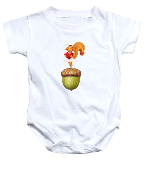 Happy Squirrel With Heart Standing On Acorn Illustration Baby Onesie by Awen Fine Art Prints