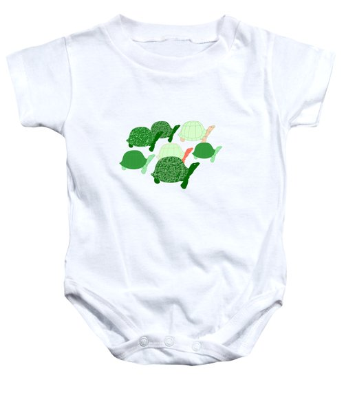 Herd Of Turtles Pattern Baby Onesie by Methune Hively
