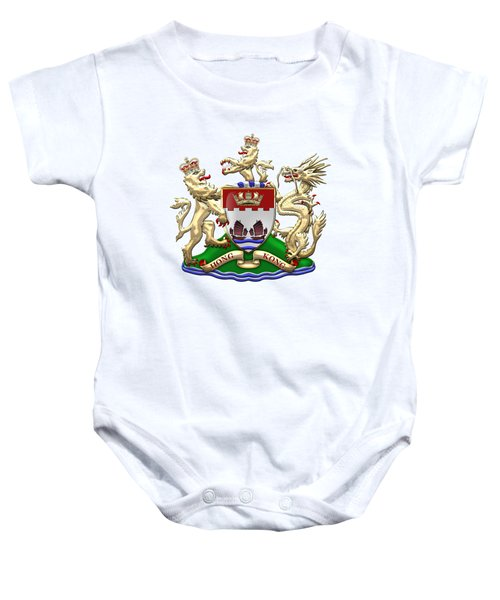 Hong Kong - 1959-1997 Coat Of Arms Over White Leather  Baby Onesie by Serge Averbukh