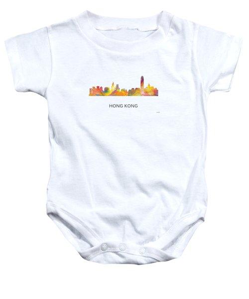 Hong Kong China Skyline Baby Onesie by Marlene Watson