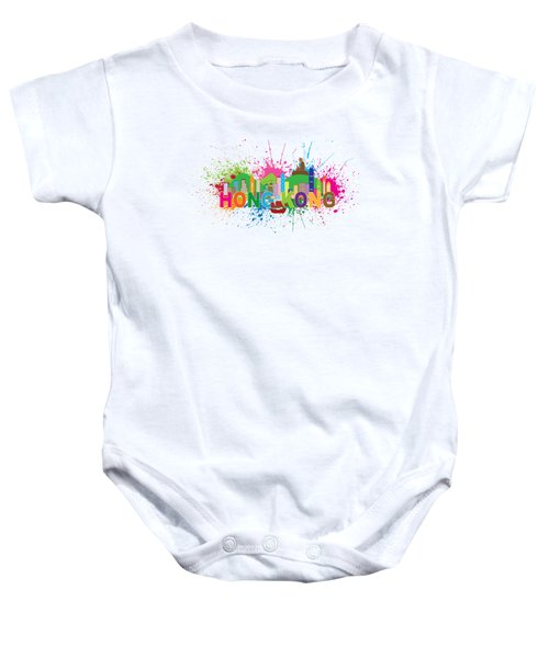 Hong Kong Skyline Paint Splatter Text Illustration Baby Onesie by Jit Lim