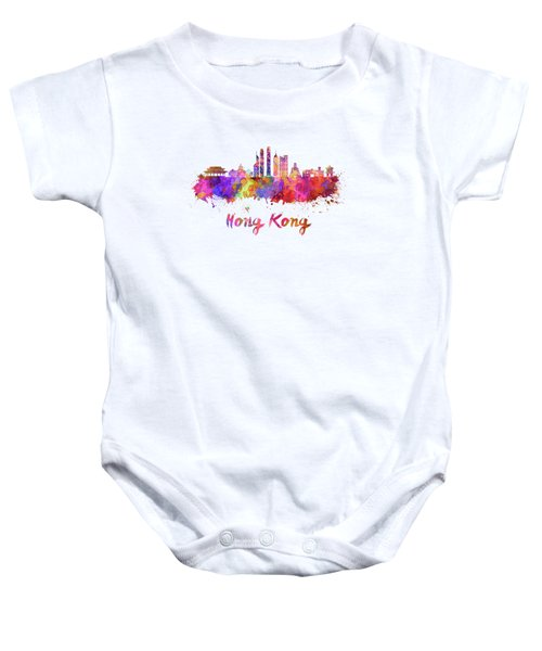 Hong Kong V2 Skyline In Watercolor Baby Onesie by Pablo Romero