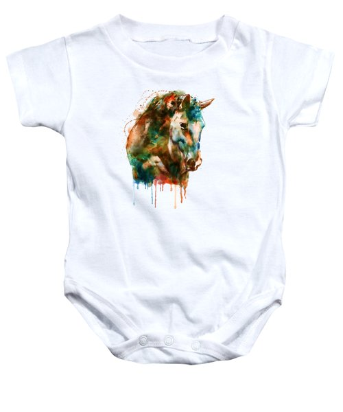 Horse Head Watercolor Baby Onesie by Marian Voicu