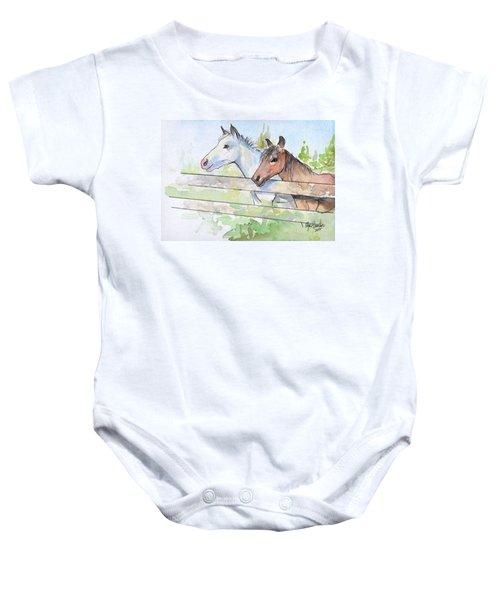 Horses Watercolor Sketch Baby Onesie by Olga Shvartsur