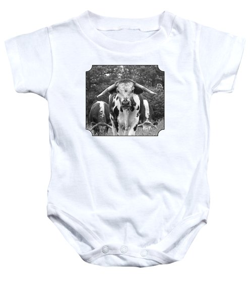 I'm In Charge Here - Black And White Baby Onesie by Gill Billington