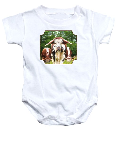 I'm In Charge Here Baby Onesie by Gill Billington
