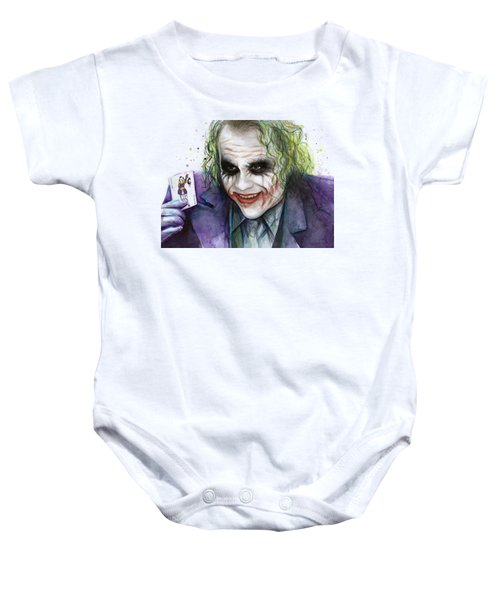 Joker Watercolor Portrait Baby Onesie by Olga Shvartsur