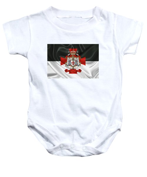 Knights Templar - Coat Of Arms Over Flag Baby Onesie by Serge Averbukh