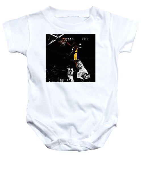 Kobe Bryant On Top Of Dwight Howard Baby Onesie by Brian Reaves