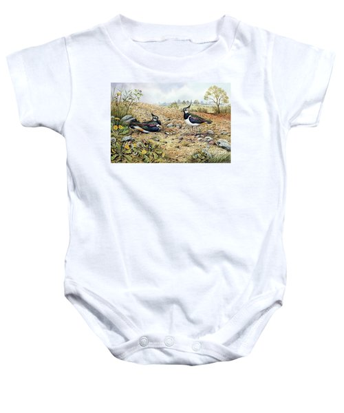 Lapwing Family With Goldfinches Baby Onesie by Carl Donner