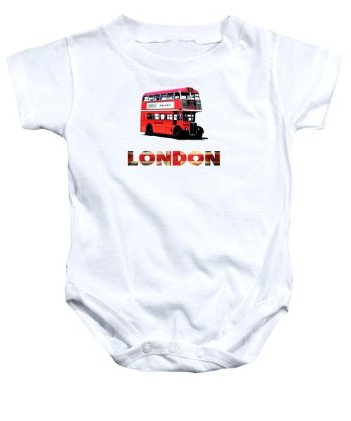 London Red Double Decker Bus Tee Baby Onesie by Edward Fielding