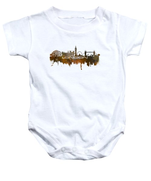 London Skyline City Brown Baby Onesie by Justyna JBJart