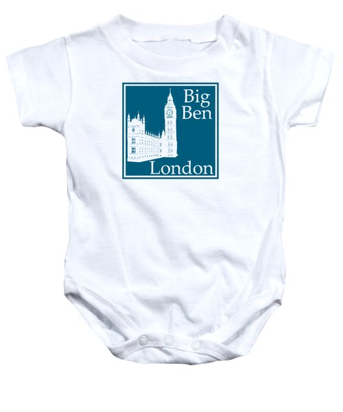London's Big Ben In Blue Lagoon Baby Onesie by Custom Home Fashions