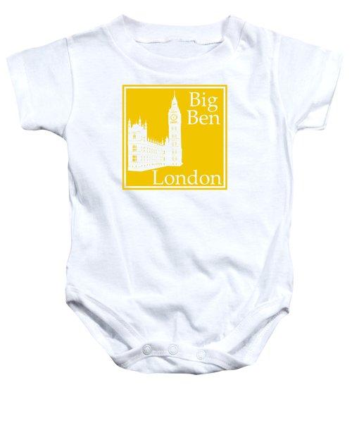London's Big Ben In Mustard Yellow Baby Onesie by Custom Home Fashions